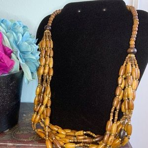 Wood and Gold Multi-Strand Necklace